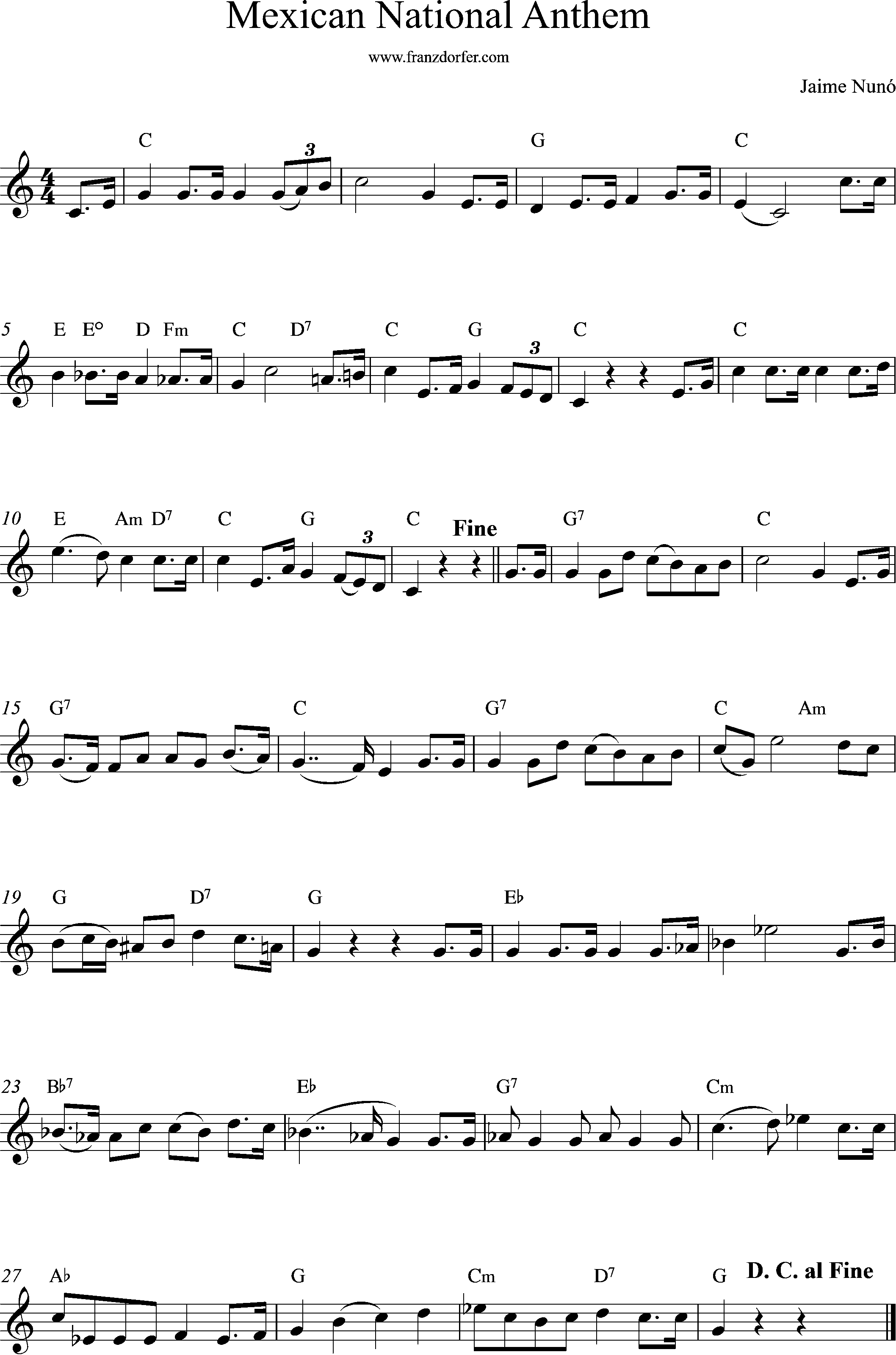 Sheetmusic Mexican National Anthem, C-Major